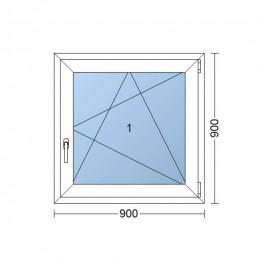 Plastové okno 90 x 90 cm, otváravé aj sklopné, biele, pravé
