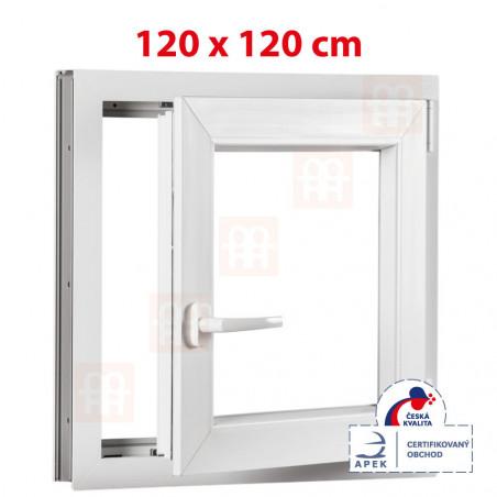 Plastové okno | 120 x 120 cm (1200 x 1200 mm) | biele | otváravé aj sklopné | pravé