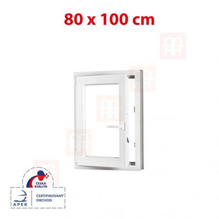 Plastové okno | 80x100 cm (800x1000 mm) | biele | otváravé aj sklopné | ľavé