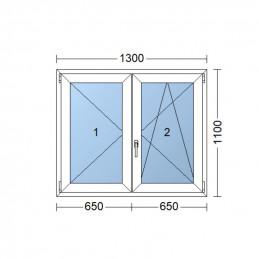 Plastové okno dvojkrídlové 130 x 110 cm, biele, bez stĺpika (štulp), pravé