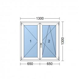 Plastové okno dvojkrídlové 130 x 130 cm, biele, bez stĺpika (štulp), pravé