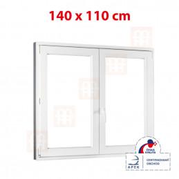 Plastové okno dvojkrídlové 140 x 110 cm, biele, bez stĺpika (štulp), pravé