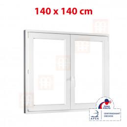 Plastové okno dvojkrídlové 140 x 140 cm, biele, bez stĺpika (štulp), pravé