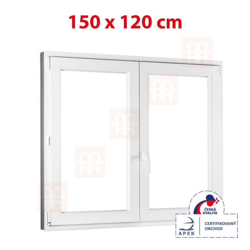 Plastové okno dvojkrídlové 150 x 120 cm, biele, bez stĺpika (štulp), pravé