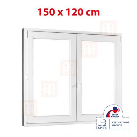 Plastové okno   150 x 120 cm (1500 x 1200 mm)   biele   dvojkrídlové   bez stĺpika (štulp)   pravé