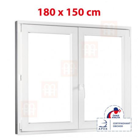 Plastové okno | 180 x 150 cm (1800 x 1500 mm) | biele | dvojkrídlové | bez stĺpika (štulp) | pravé
