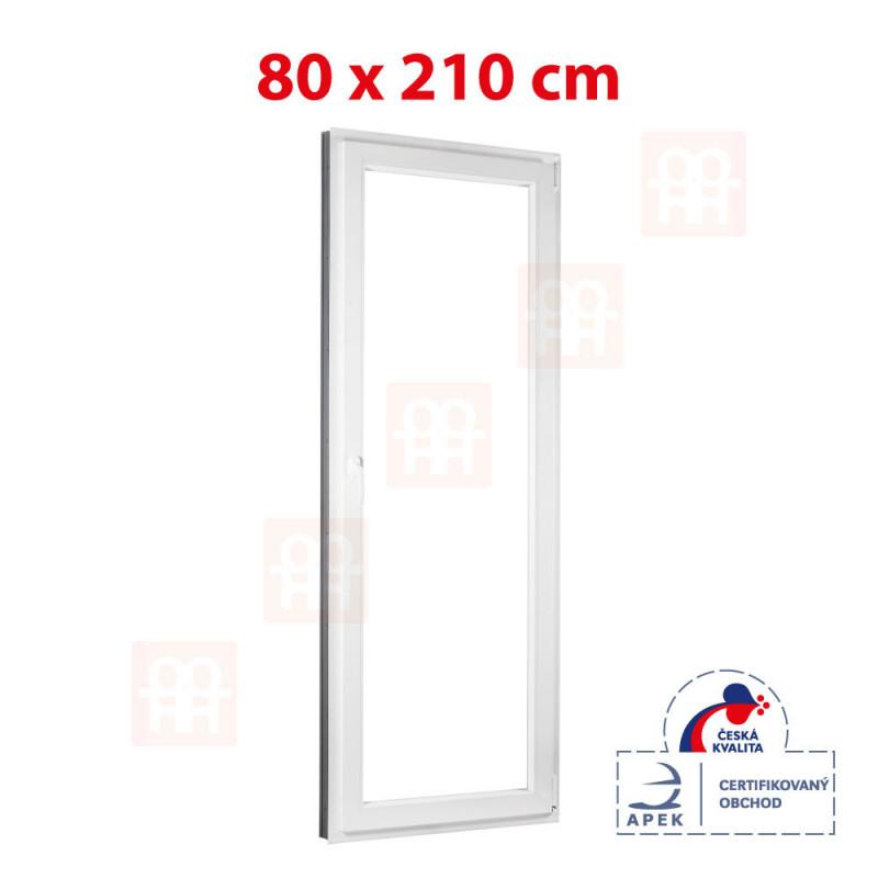 Plastové balkónové dvere 80 x 210 cm, otváravé aj sklopné, pravé