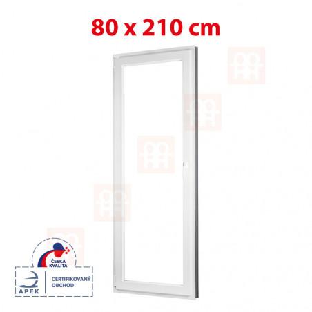Plastové dvere | 80 x 210 cm (800 x 2100 mm) | biele | balkónové | otváravé aj sklopné | ľavé