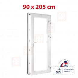 Plastové dvere | 90 x 205 cm (900 x 2050 mm) | biele | presklenné | pravé