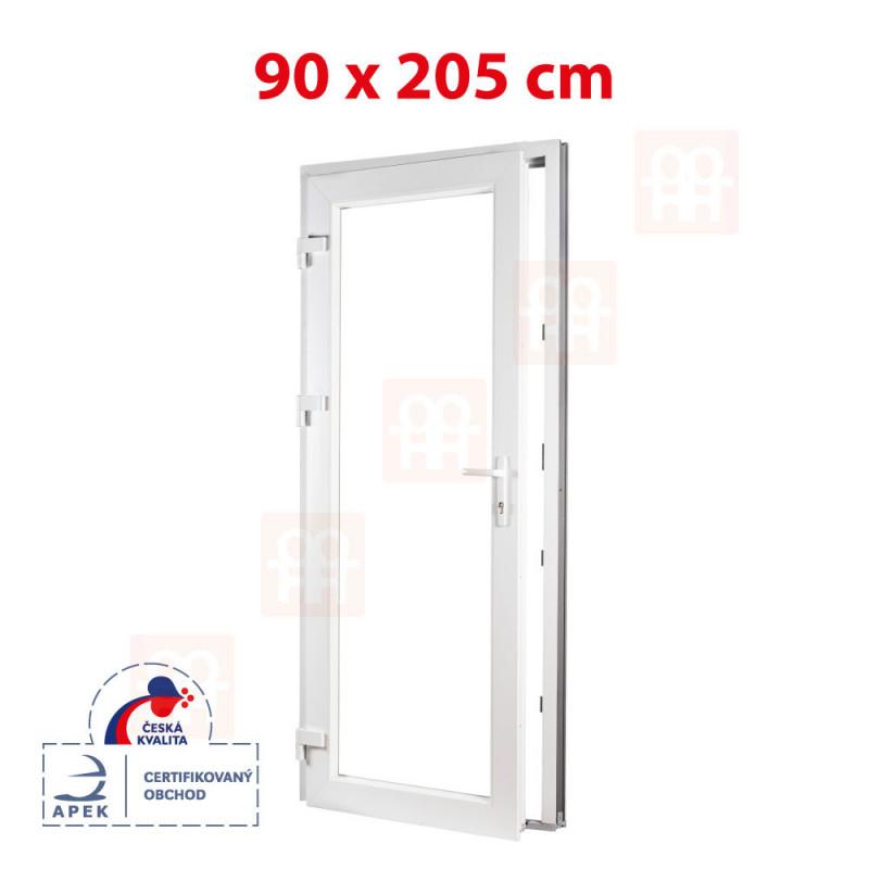 Plastové dvere | 90 x 205 cm (900 x 2050 mm) | biele | presklenné | ľavé