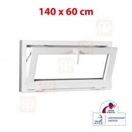 Plastové okno | 140x60 cm (1400x600 mm) | biele | sklopné | pivničné