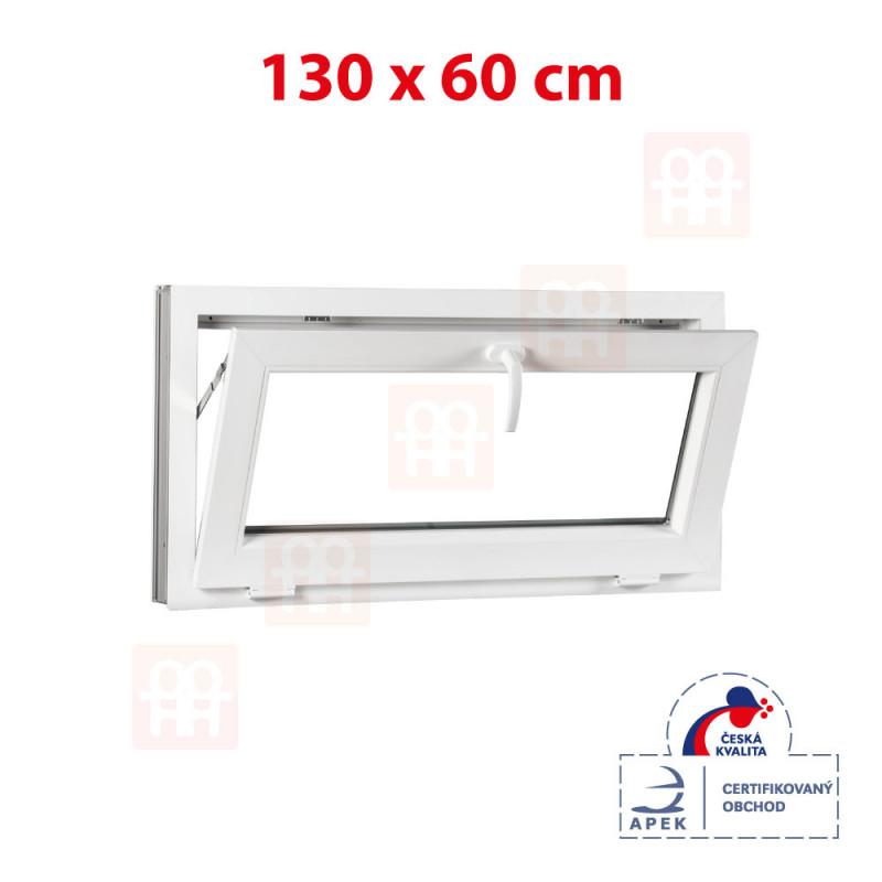 Plastové okno | 130x60 cm (1300x600 mm) | biele | sklopné | pivničné