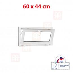 Plastové okno | 60x44 cm (600x440 mm) | biele | sklopné | pivničné
