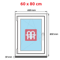 Plastové okno 60x80 cm, otváravé aj sklopné, biele, ľavé