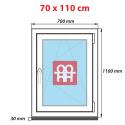 Plastové okno 70 x 110 cm, otváravé aj sklopné, biele, pravé